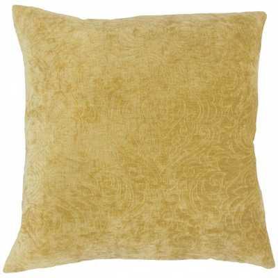 "Hertzel Solid Pillow Yellow - 20"" with Down Insert - Linen & Seam"