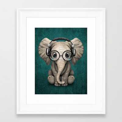 Cute Baby Elephant Dj Wearing Headphones and Glasses on Blue Framed Art Print - Society6