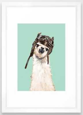 Cool Pilot Llama Framed Art Print - Society6