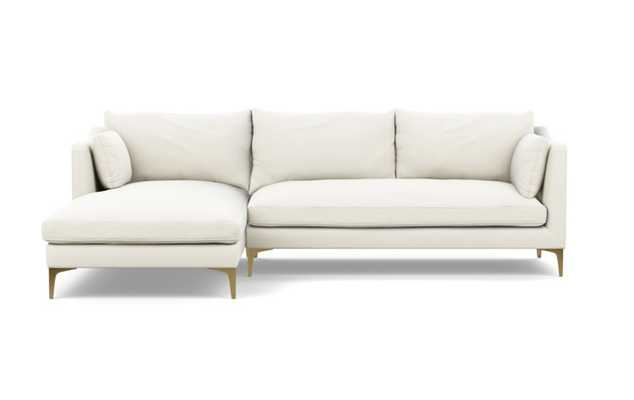 Caitlin by The Everygirl Chaise Sectional in Ivory Fabric with Brass Plated legs -LEFT CHAISE - Interior Define