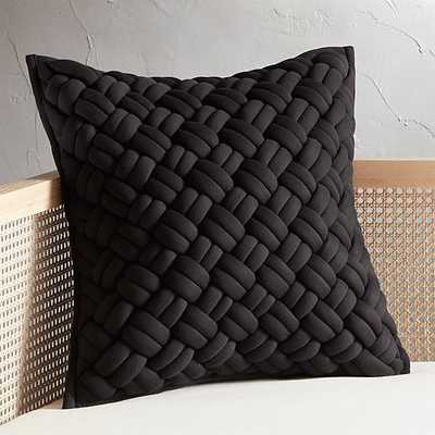 """20"""" Jersey Black InterKnit Pillow with Down-Alternative Insert"" - CB2"
