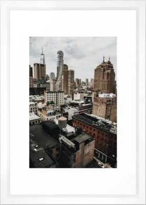 New York City Skyline Framed Art Print Vector White - Society6
