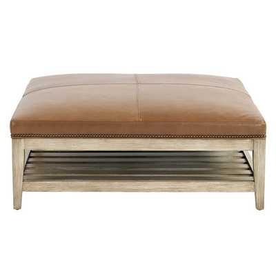 Ballard Designs Carmen Leather Ottoman with Brass Nailheads Latte-Special Order - Ballard Designs