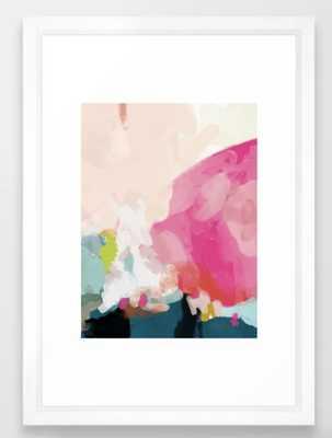 """pink sky Framed Art Print - 15"""" x 21"""", vector white - Society6"""