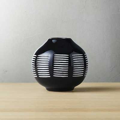 "stitch black and white ceramic vase - 4.25""H - CB2"
