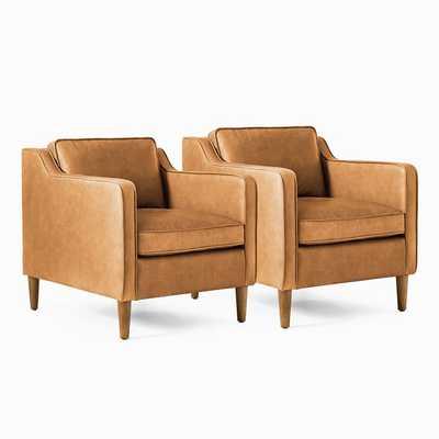 Hamilton Leather Chair, Charme Leather, Burnt Sienna, Set of 2 - West Elm