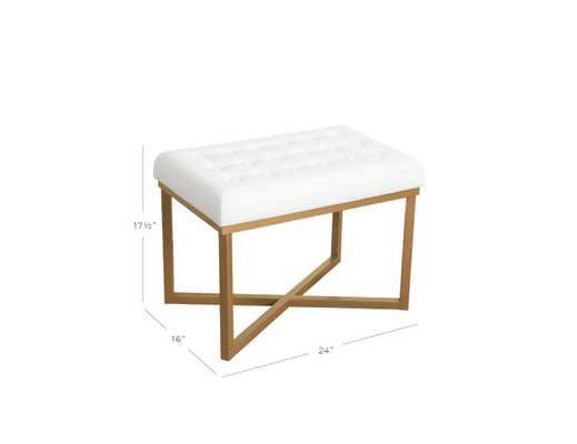 Velvet Tufted Cushion and Gold Metal X Base Rectangle Ottoman - White - Target