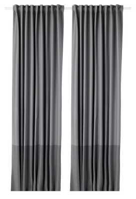 MARJUN Blackout curtains, 1 pair, gray - Ikea
