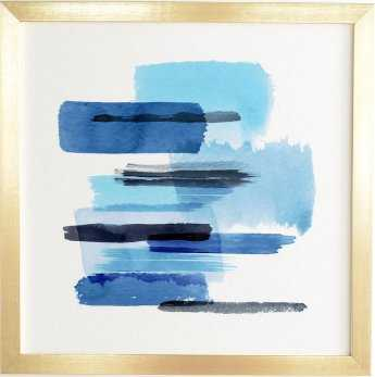 FEELINGS BLUE Gold Framed Wall Art By Ninola Design - Wander Print Co.