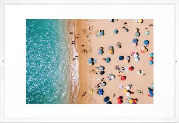 People On Algarve Beach In Portugal, Drone Photography, Aerial Photo, Ocean Wall Art Print Framed Art Print LARGE - Society6