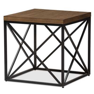 BAXTON STUDIO HOLDEN VINTAGE INDUSTRIAL ANTIQUE BRONZE END TABLE - Lark Interiors