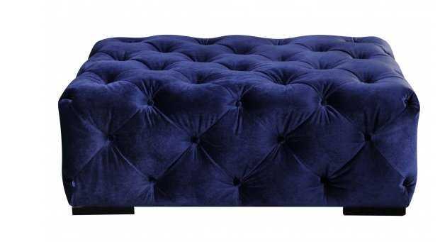Jasper Rectangular Ottoman, Navy Velvet - High Fashion Home