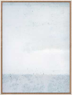 "Overcast- Soft Blues 52"" x 40"" Distressed Cream Double Bead Wood - Artfully Walls"