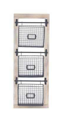 "36"" H x 14"" W x 4"" D Industrial 3-Tier Basket Wall Rack with Label Slot - Wayfair"