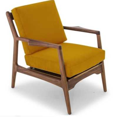 Collins Mid Century Modern Chair - Cordova Mineral - Walnut - Joybird
