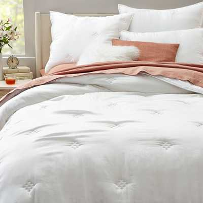 Washed Silk, King Quilt, White - West Elm