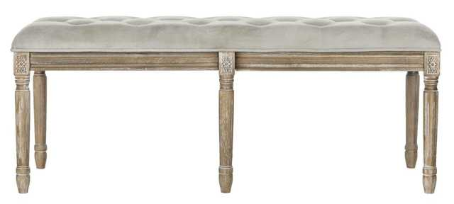 ROCHA 19''H FRENCH BRASSERIE TUFTED TRADITIONAL RUSTIC WOOD BENCH - Arlo Home