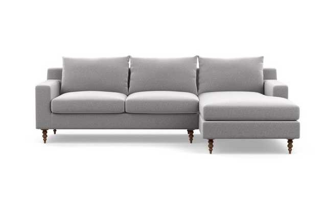 "Custom - Sloan Sectional with Right Chaise, 96"", Ash (Performance Felt), Oiled Walnut Leg - Interior Define"