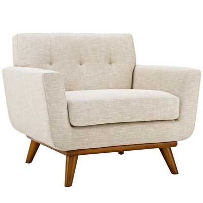ENGAGE UPHOLSTERED FABRIC ARMCHAIR IN BEIGE - Modway Furniture