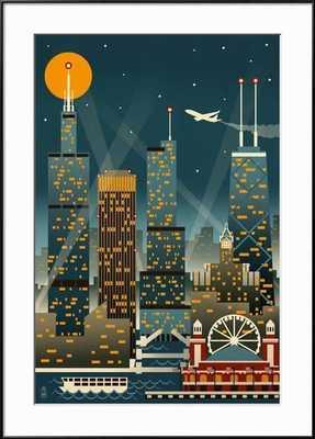 "Chicago Illinois -  Retro Skyline-  36"" x 54""-  Frame Ronda Black-  Framed Art Print-  Acrylic: Clear - art.com"