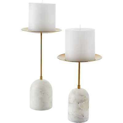 NUMA MARBLE AND BRASS PILLAR CANDLE STAND LARGE with candle - CB2