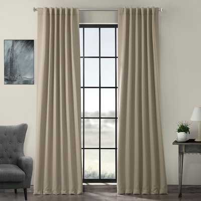 Exclusive Fabrics & Furnishings Semi-Opaque Classic Taupe Beige Blackout Curtain - 50 in. W x 96 in. L (Panel) - Home Depot
