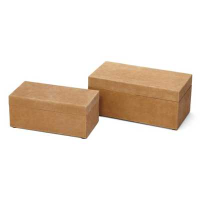 Sienna Suede Boxes- Set of 2 - Mercer Collection