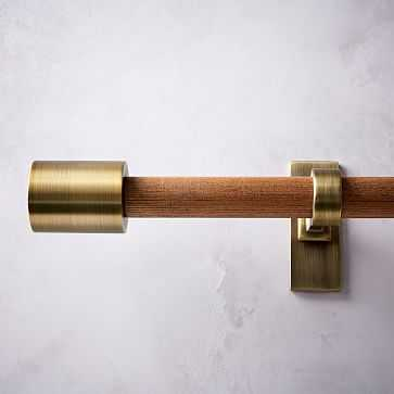 "Mid-Century Rod + 3 Brackets, 44""-108"", Wood/Brass - West Elm"