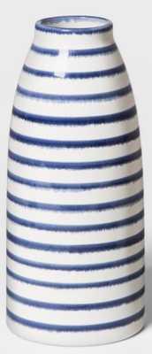 "9"" x 4"" Stoneware Stripped Vase White/Blue - Threshold™ - Target"