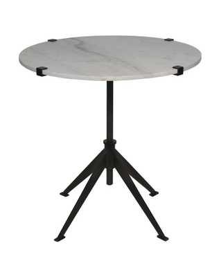 DEVYN ADJUSTABLE SIDE TABLE, BLACK METAL & QUARTZ - McGee & Co.