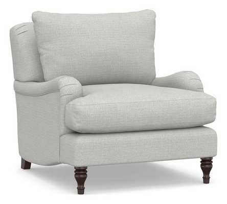 Carlisle Upholstered Armchair, Polyester Wrapped Cushions, Basketweave Slub Ash - Pottery Barn