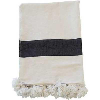 Moroccan Pom-Pom Blanket, White/Black - One Kings Lane