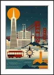 "San Francisco, California - Retro Skyline-  36"" x 54""-  Frame Ronda Black-  Framed Art Print-  Acrylic: Clear - art.com"
