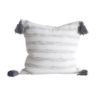 Creative Co-op Square Cotton Woven Pillow with White and Grey Stripes by Creative Co-op - Hayneedle