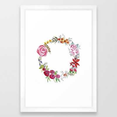 Watercolor Floral Wreath Framed Art Print - 15x21 - vector white frame - Society6