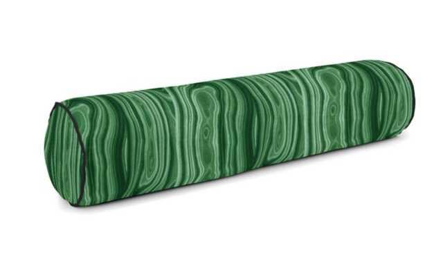 Custom Bolster Pillow/ Malachite- Amazon/ Black Sunbrella canvas Cord/ no insert - Loom Decor