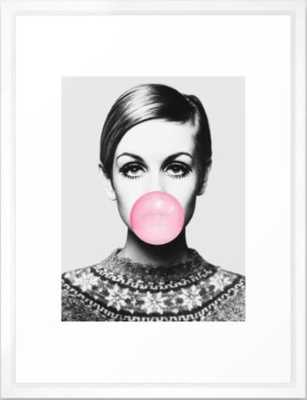 Twiggy Framed Art Print - Vector White - Society6