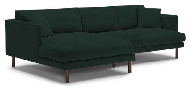 Lewis Sectional- Left Chaise-Royal Evergreen-Coffee Bean - Joybird