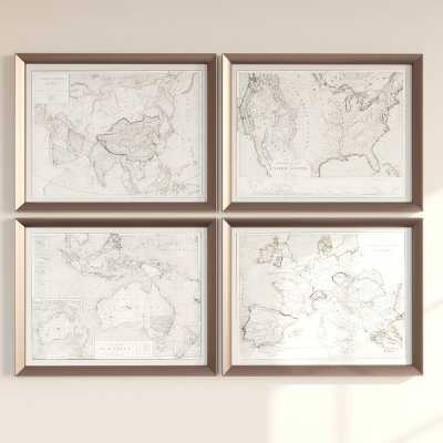 'World Maps' 4 Piece Framed Graphic Art Set - Wayfair