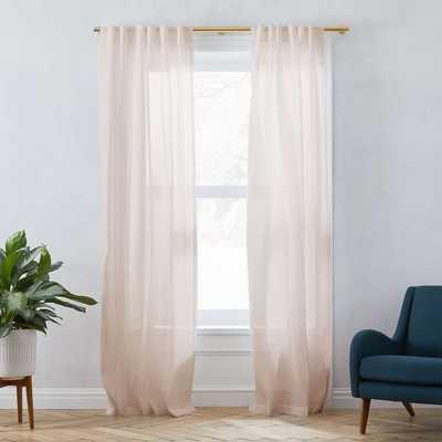 "Belgian Flax Linen Sheer Curtain, Dusty Blush, 48""x96"" - West Elm"