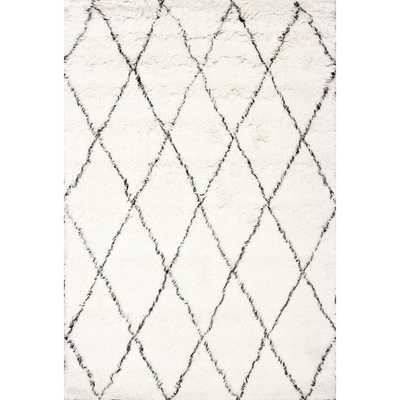 Handmade Moroccan Trellis Wool Shag Rug -9' x 12'-Ivory - Overstock
