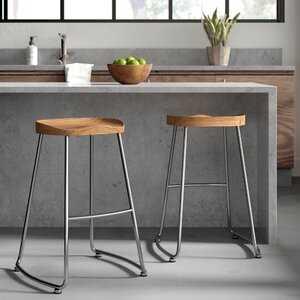 Brookshire Solid Wood/Metal Counter Stool - Set of 2 - Wayfair