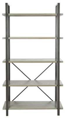 Imperial Beach Etagere Bookcase black and French grey - Wayfair