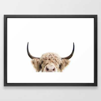 "Peeking Highland Cow Framed Art Print, 20"" x 26"" - Society6"