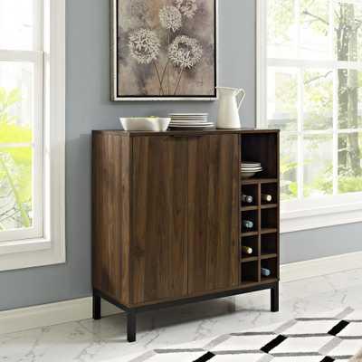 Dark Walnut Bar Cabinet with Wine Storage - Home Depot