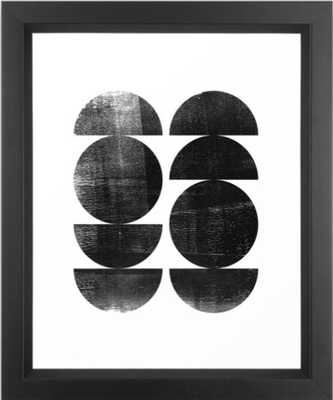 """Black and White Mid Century Modern Circles Abstract Framed Art Print - 10"""" x 12"""" - Society6"""