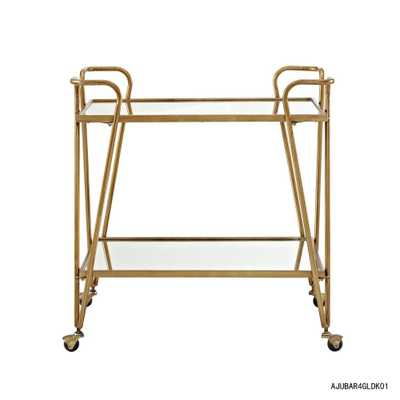 Mid-Century Gold Bar Cart with Castors - Home Depot
