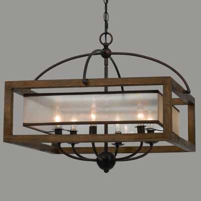 SQUARE WOOD FRAME AND SHEER CHANDELIER - 6 LIGHT - Shades of Light