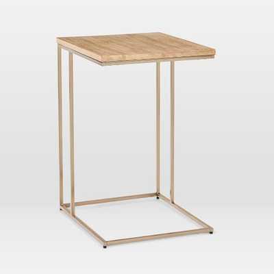 Streamline C-Side Table, Whitewash, Antique Bronze - West Elm