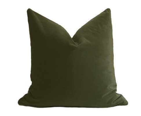 """Belgium Velvet Pillow Cover - Olive Green - 20"""" x 20"""" - No Insert - Willa Skye"""